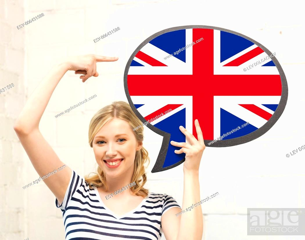 Stock Photo: education, foreign language, english, people and communication concept - smiling woman holding text bubble of british flag and pointing finger.