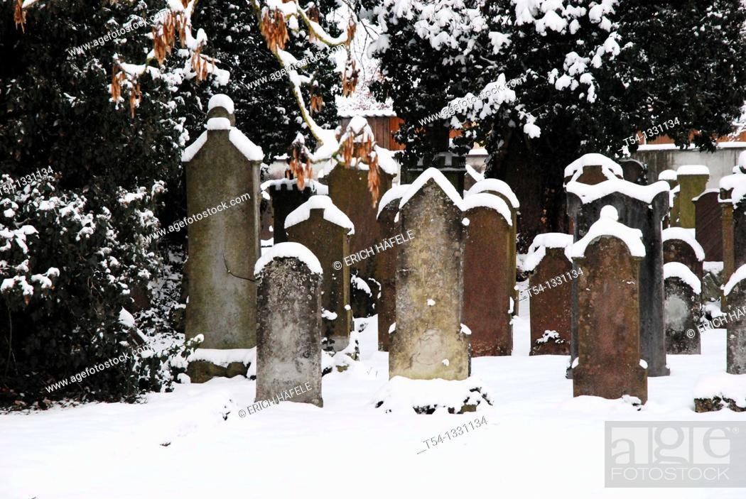Stock Photo: Snowy Jewish cemetery in southern Germany.