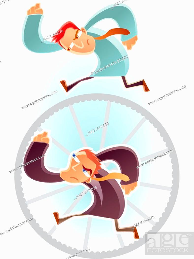 Stock Photo: Man running on a wheel.