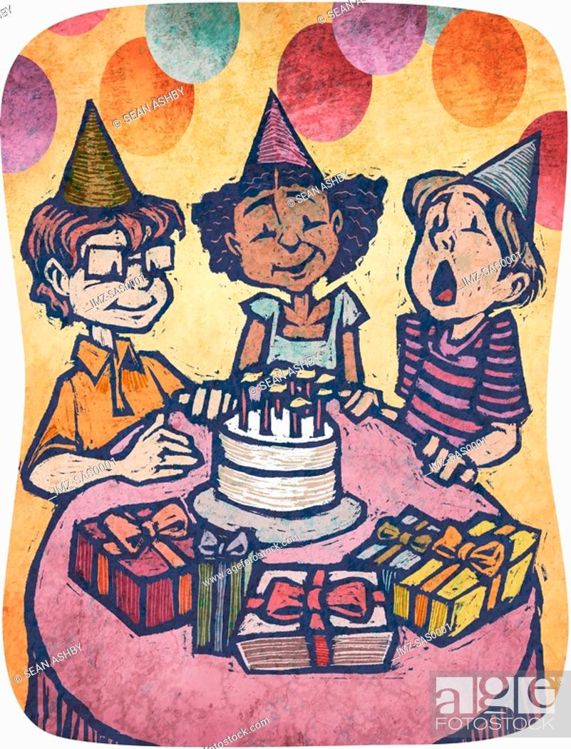 Stock Photo: A boy blowing out candles on a cake at a birthday party.