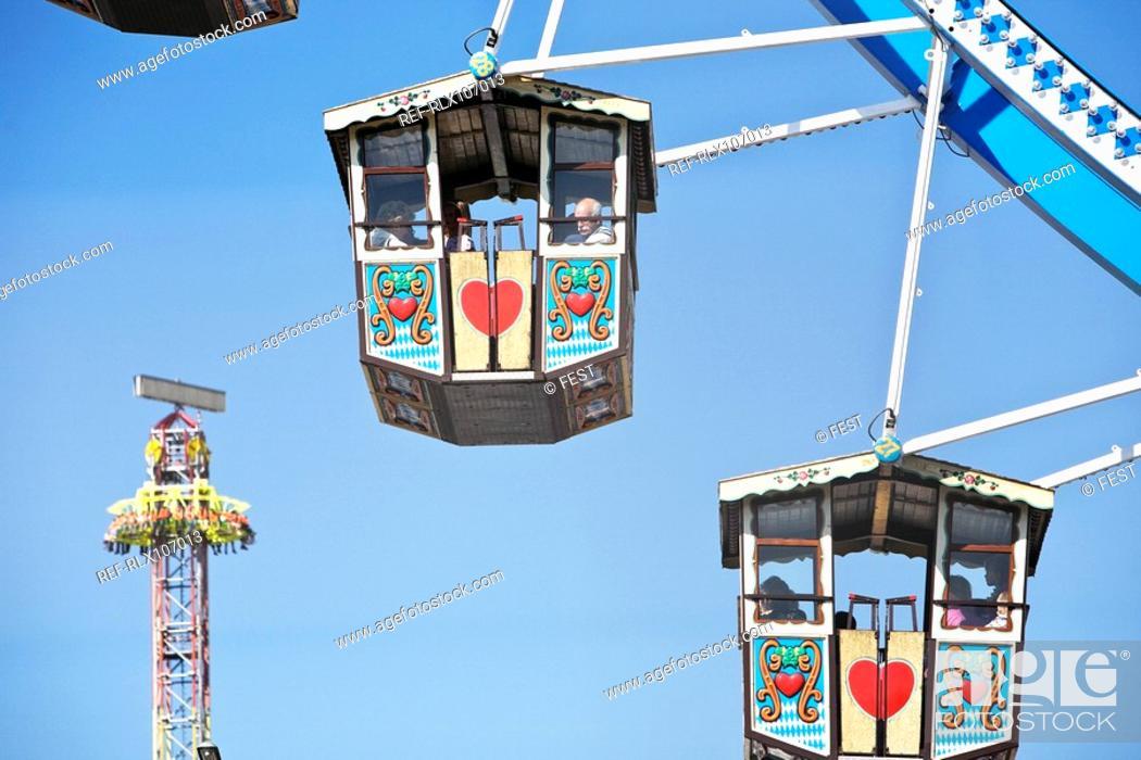 Stock Photo: Detail of Ferris wheel wagons at Oktoberfest, Munich, Germany.