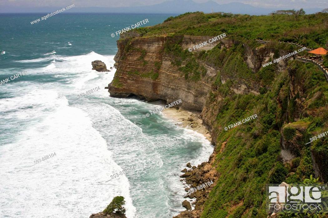 Stock Photo: A cliff overlooking the sea at Ulu Watu, Bali.