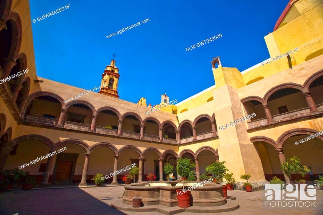 Stock Photo: Fountain in the courtyard of a church, Church of San Bernardino of sienna, Xochimilco, Mexico.