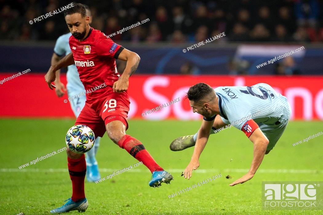 Stock Photo: 06 November 2019, North Rhine-Westphalia, Leverkusen: Soccer: Champions League, Bayer Leverkusen - Atletico Madrid, Group stage, Group D.