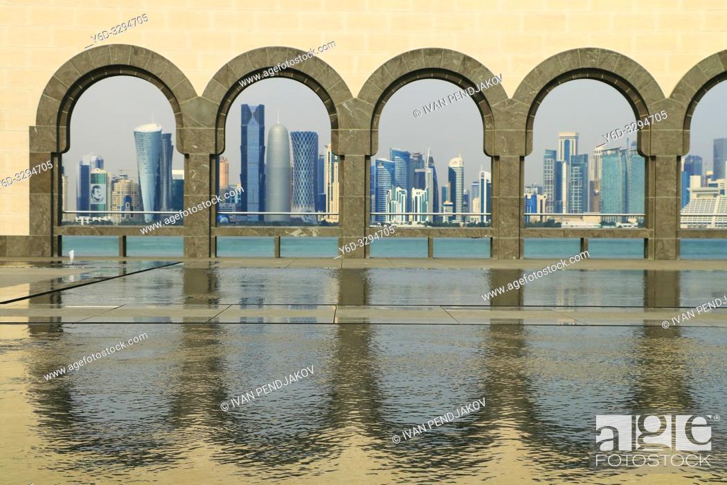Photo de stock: Doha Skyline as Seen from Museum of Islamic Art, Qatar.