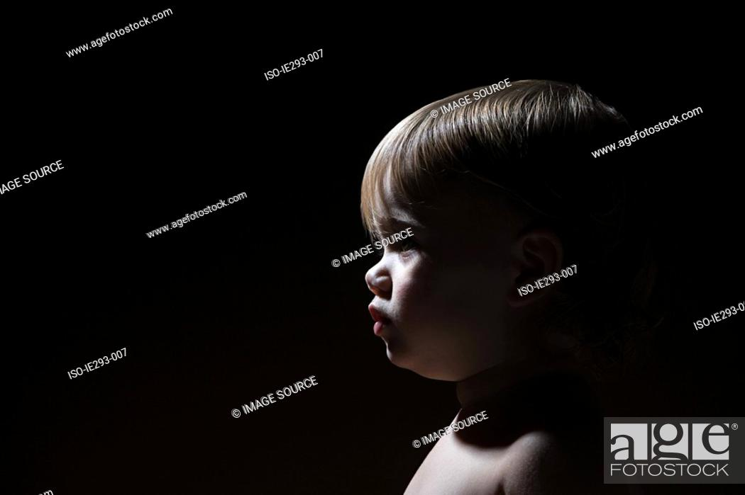 Stock Photo: Profile of a baby girl.