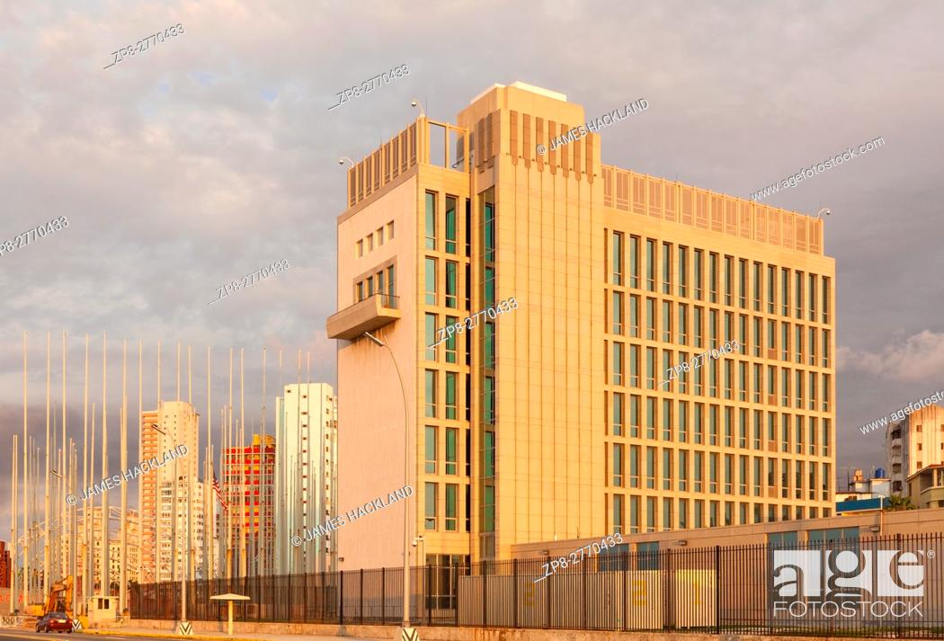 Stock Photo: The back of the United States Embassy seen from The Malecon (Maceo Avenue) in Vedado, Havana, Cuba.