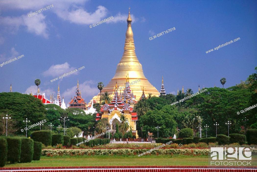Stock Photo: Park in front of a pagoda, Shwedagon Pagoda, Yangon, Myanmar.