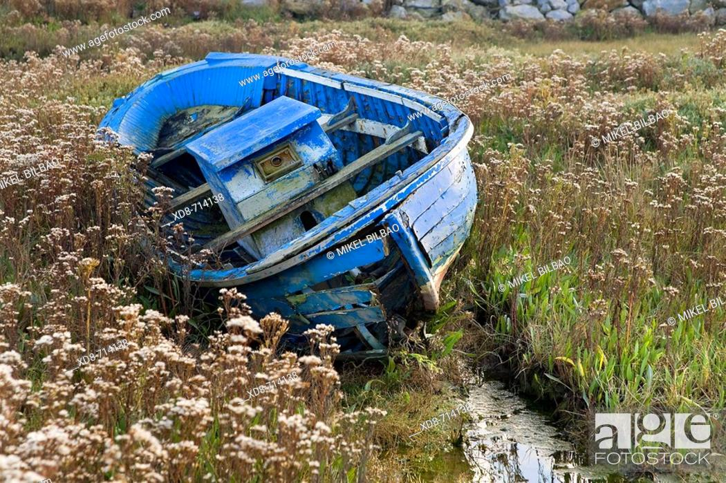 Stock Photo: Fishing boat in marsh, Marismas de Santoña Natural Reserve, Colindres, Cantabria, Spain.