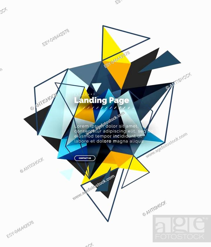 Vector: Triangular design abstract background, landing page. Low poly style colorful triangles on white. Vector illustration.