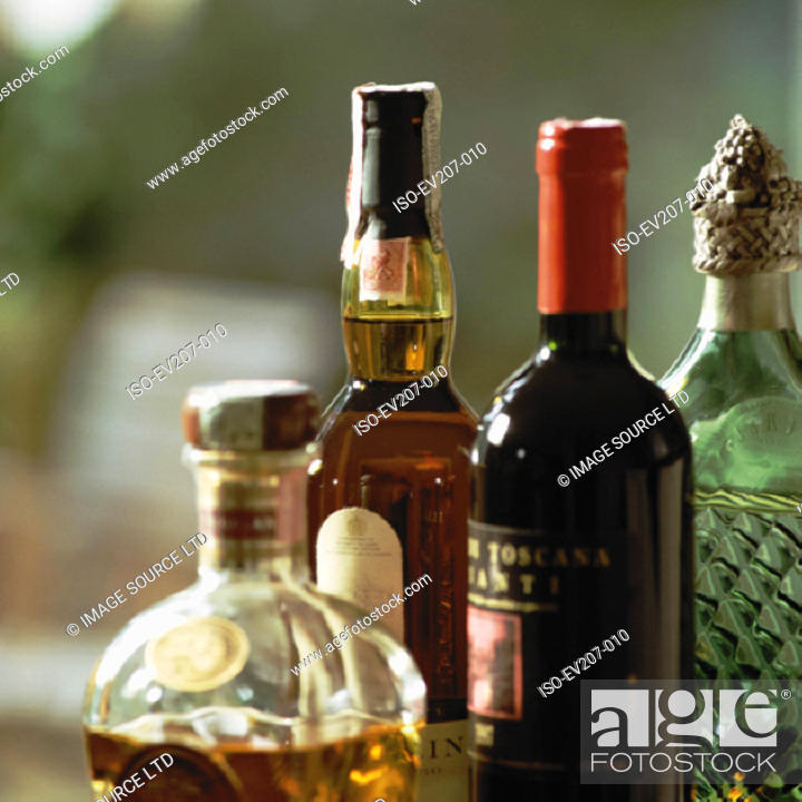 Stock Photo: Bottles of alcohol.