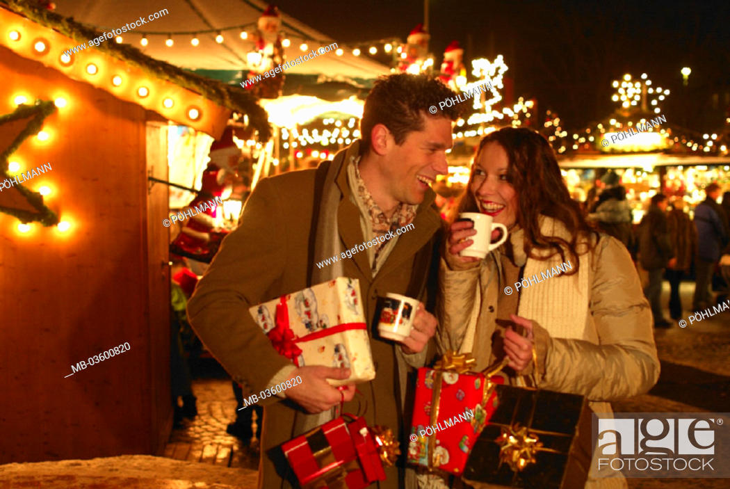 Mulled Wine Christmas Market.Christmas Market Pair Cups Mulled Wine Stock Photo