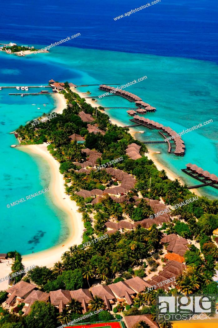 Stock Photo: Indian Ocean, Maldives, resort aerial view.