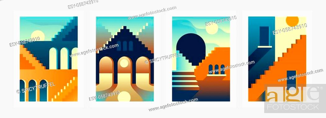 Stock Vector: Geometry stairs posters. Abstract contemporary architectural banners with oriental buildings. Minimal arches and steps. Overlaying shadows and lights from.