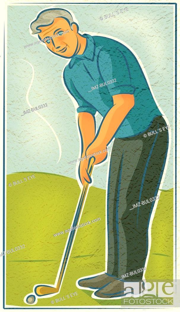 Stock Photo: An elderly man playing golf.