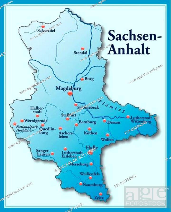 Karte Von Sachsen Anhalt Als Ubersichtskarte In Blau Stock Vector