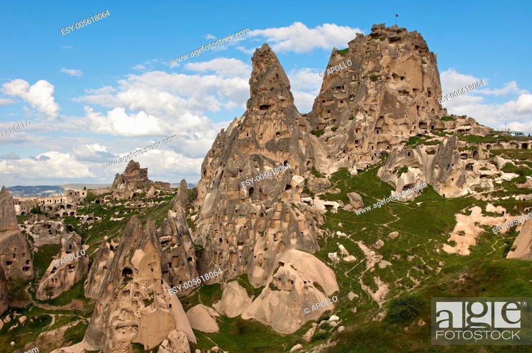 Stock Photo: The Castle Rock of Uchisar, Cappadocia, central Anatolia, Turkey.