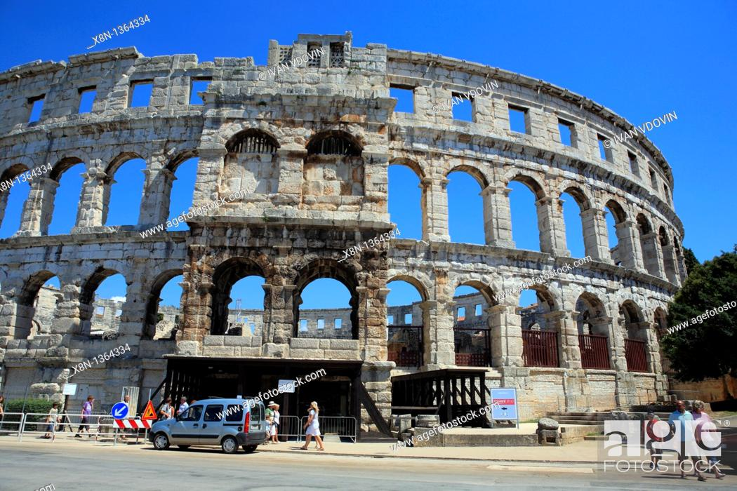 Stock Photo: Roman arena colosseum, Pula, Istria county, Croatia.