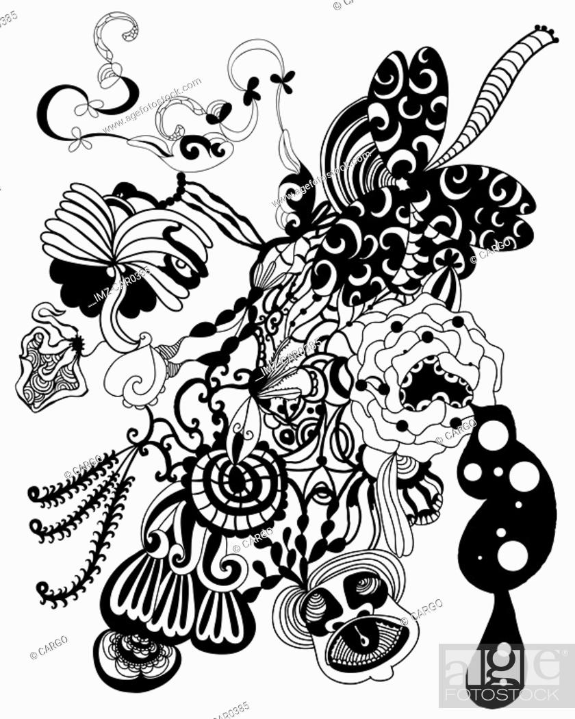Stock Photo: Black and white abstract flowers and shapes.