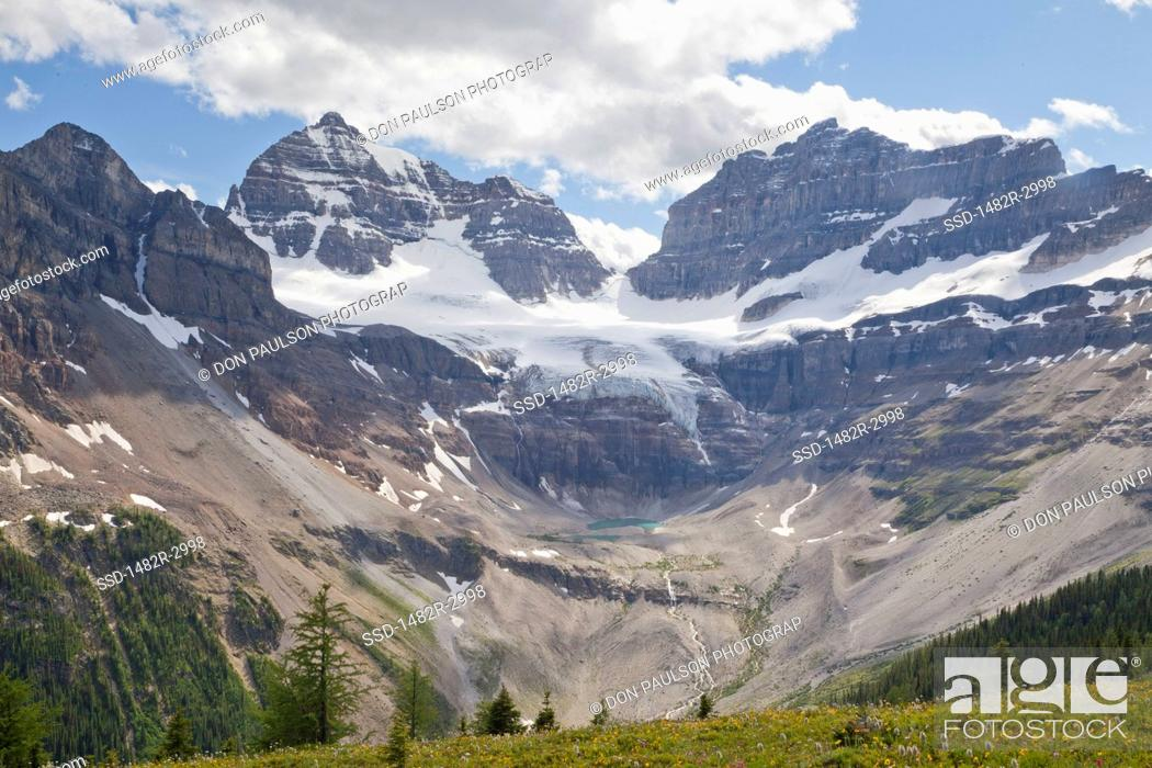 Stock Photo: Canada, Mount Assiniboine Provincial Park, View from Cirque of Towers and Terrapin, Mts. Gloria and Eon.