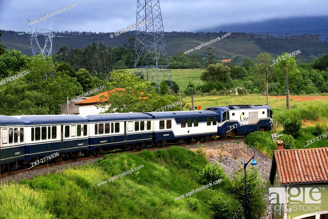 Stock Photo: Outside of Transcantabrico Gran Lujo luxury train travellong across northern Spain, Europe. Journey between Unquera and Cabezon de la Sal.
