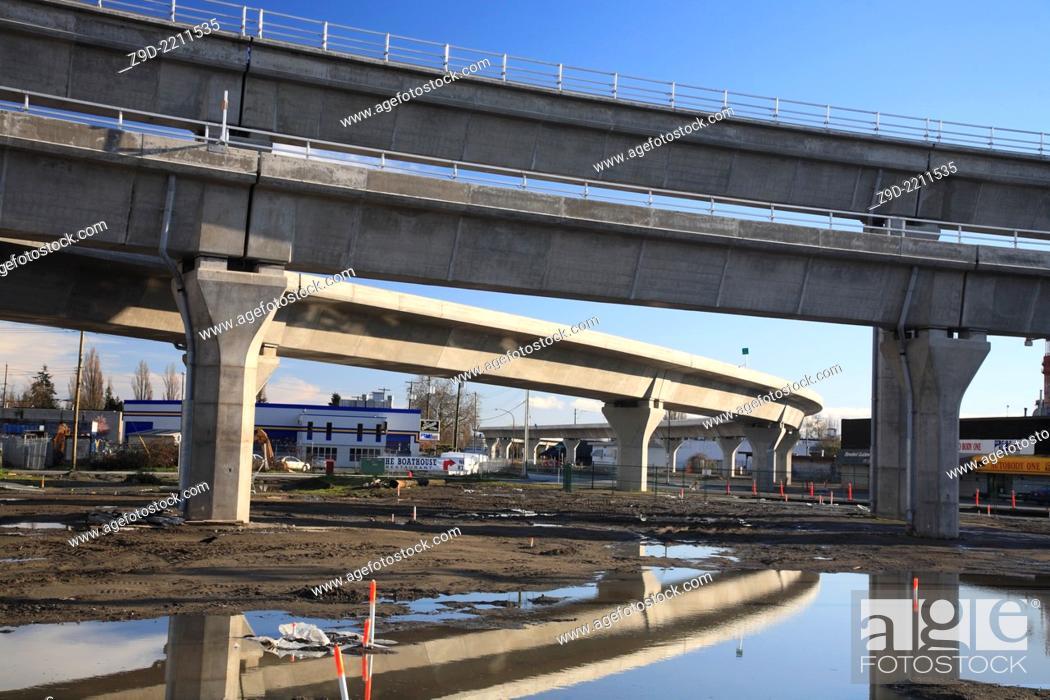 Stock Photo: Canada Line ALRT construction in Richmond, British Columbia.