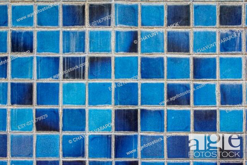 Stock Photo: blue ceramic wall tiles and details of surface.