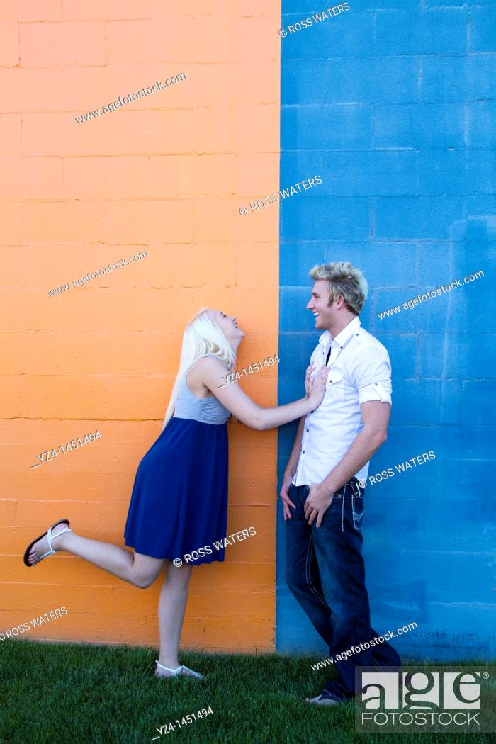 Stock Photo: young couple enjoying the day together durring engagement shoot.