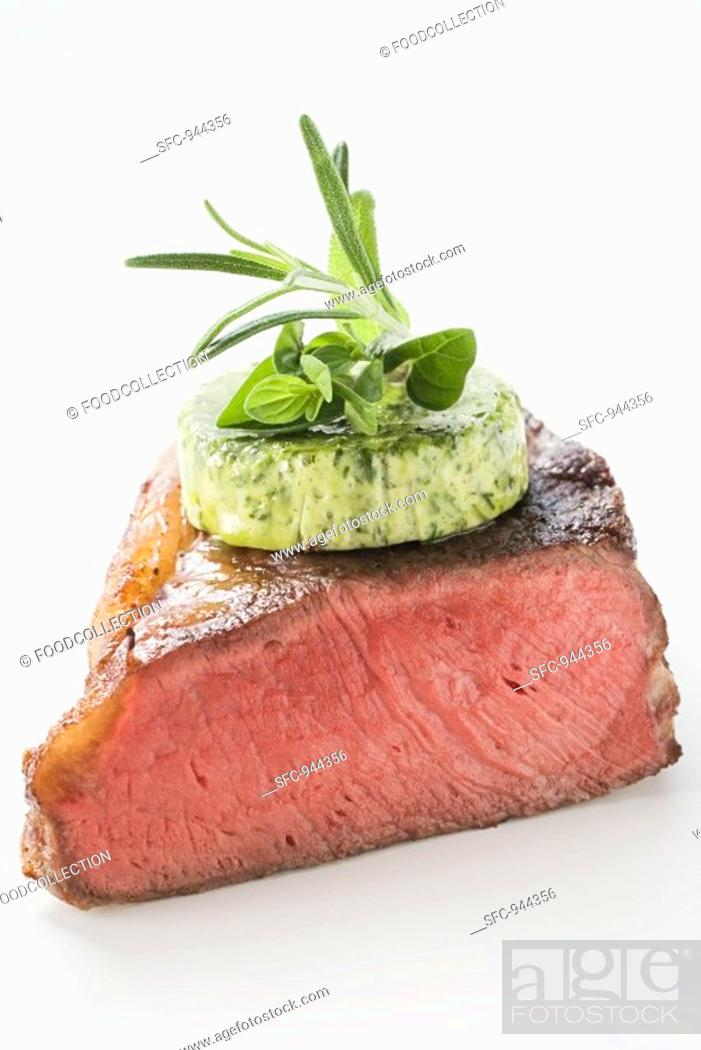 Stock Photo: Beef steak with herb butter.
