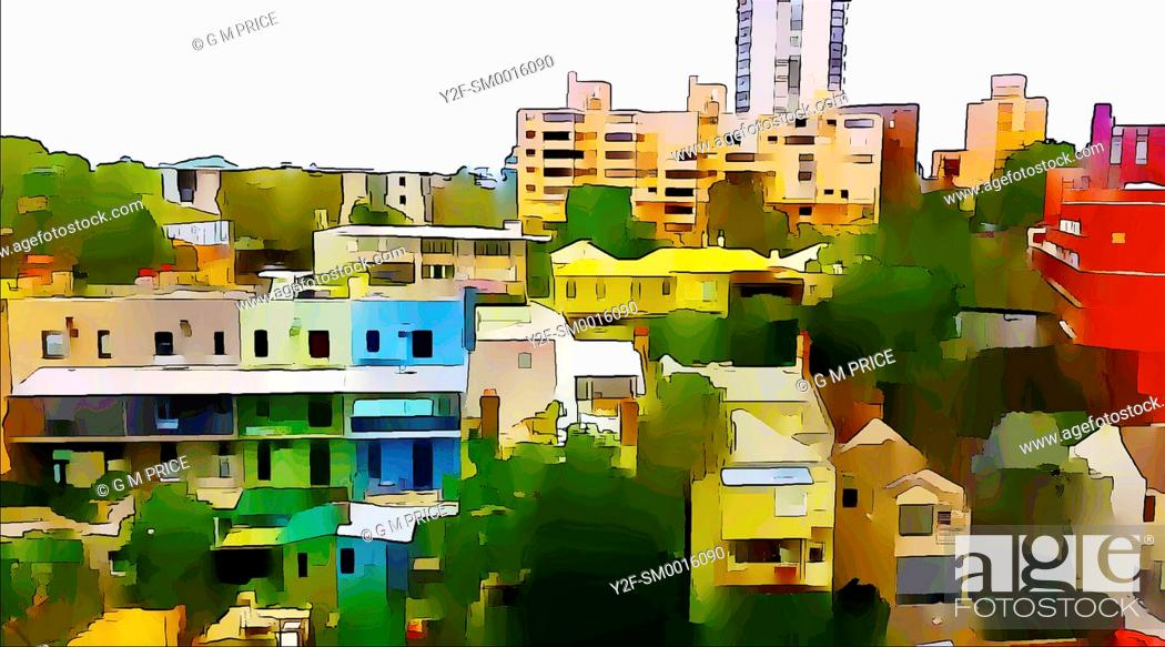 Stock Photo: watercolour filter view of residential buildings at Kirribilli, Sydney.