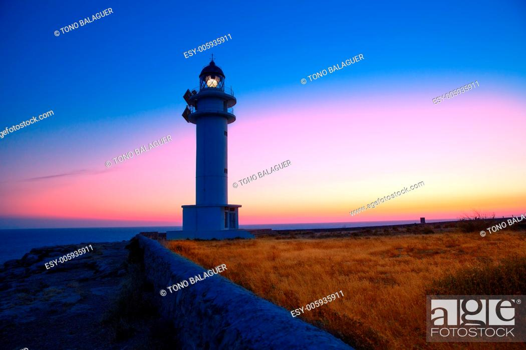 Stock Photo: Formentera sunset in Barbaria cape lighthouse at Balearic Mediterranean islands.