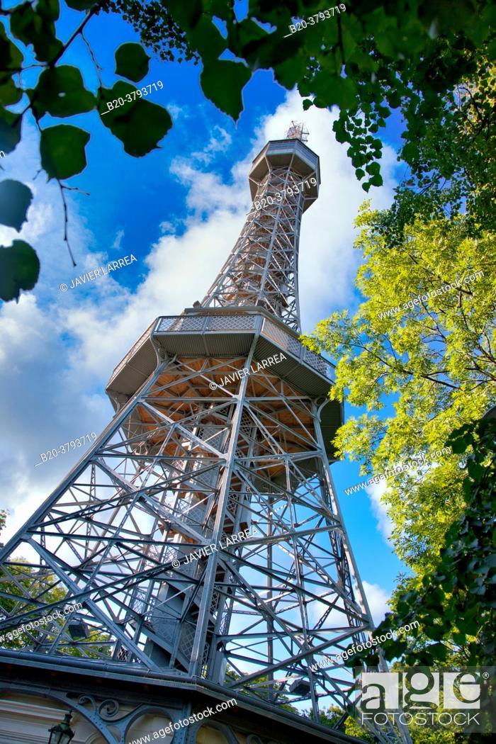 Stock Photo: Petrin lookout tower, Prague, Czech Republic, Europe.