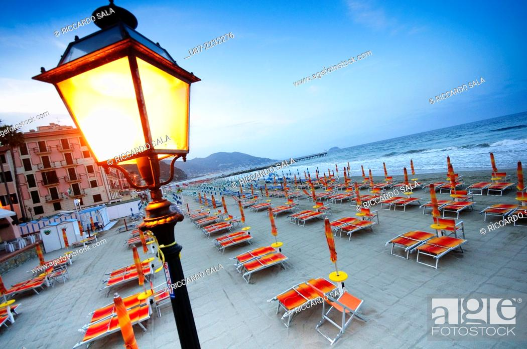 Stock Photo: Italy, Liguria, Laigueglia, Beach at Dusk.