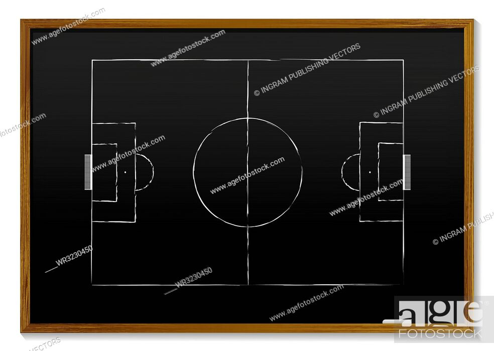 Vector: black board with wood frame and chalk drawing of pitch.