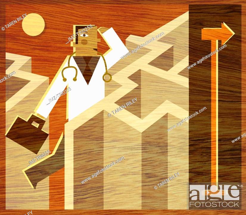 Stock Photo: A doctor walking through a maze.
