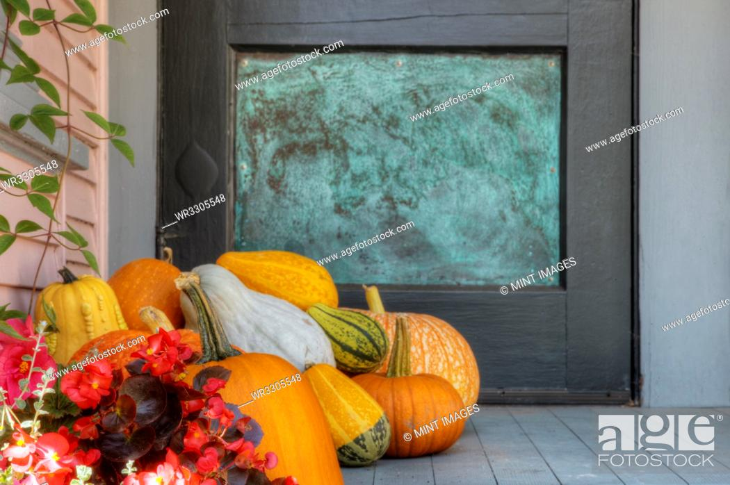 Photo de stock: Pile of pumpkins and gourds on porch.