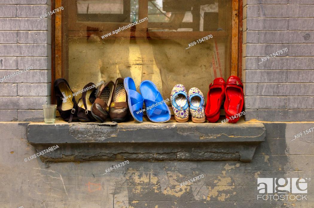 Stock Photo: Beijing Hutong Window Beijing China.