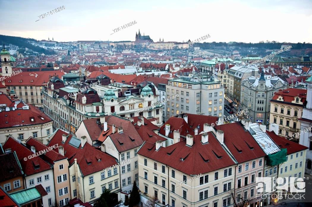 Stock Photo: View of the rooftops around the old town square of Prague, Czech Republic.