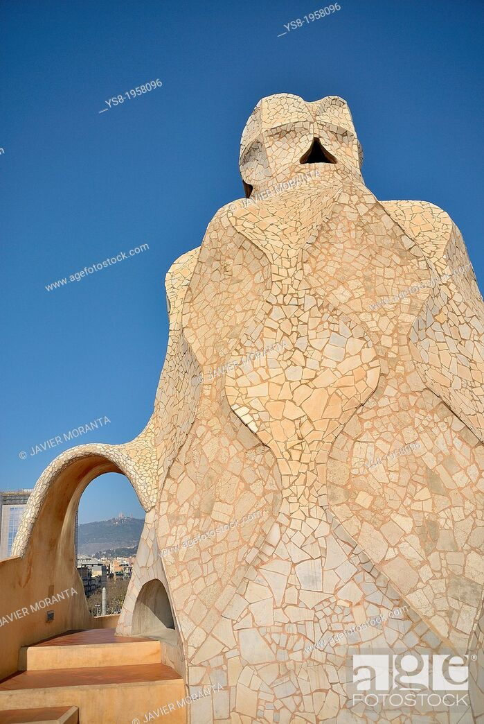 Stock Photo: Tower roof of La Pedrera, Barcelona, Spain.