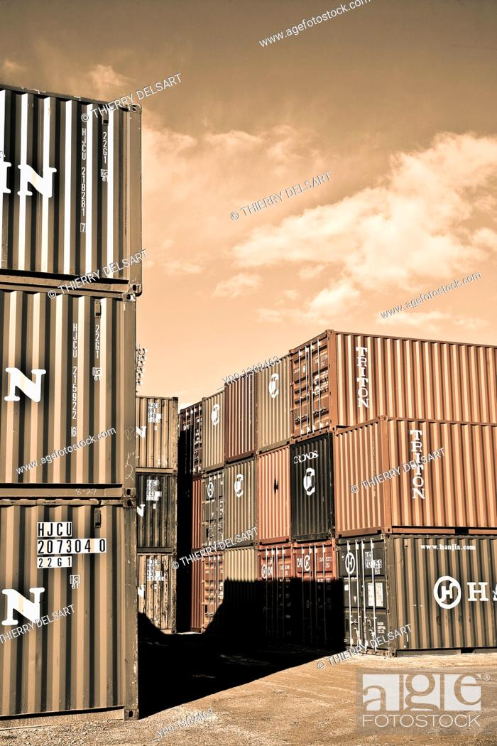 Stock Photo: Containers close to Algeciras harbour, Cadiz province, Andalusia, Spain.