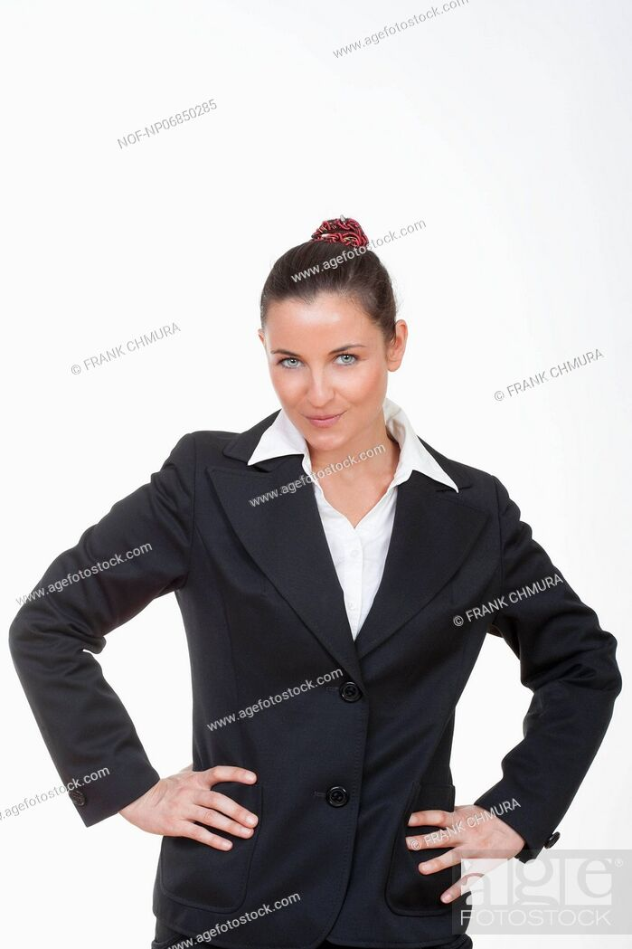 Stock Photo: beautiful businesswoman looking at camera isolated on white.