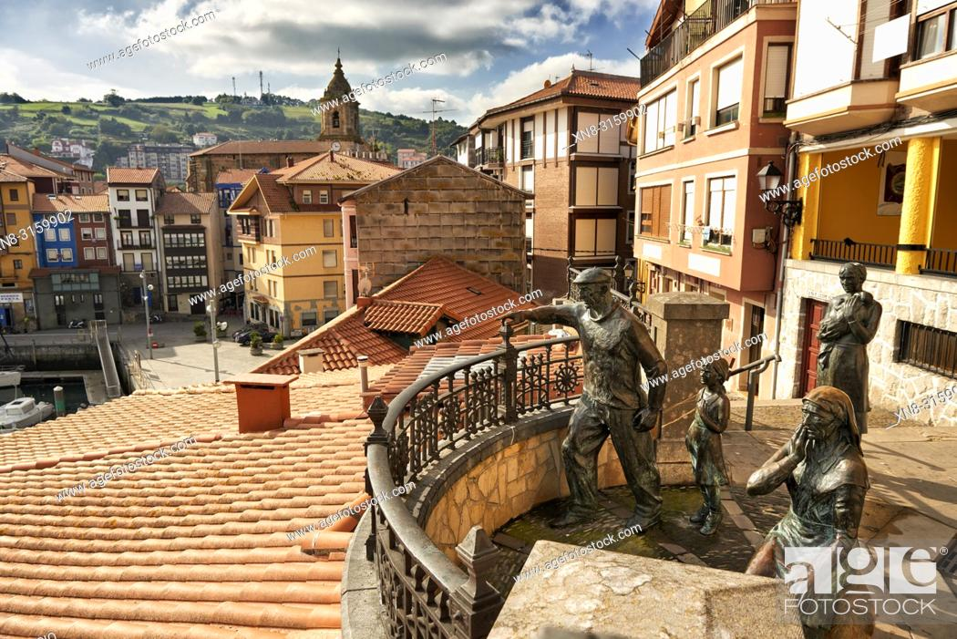 Stock Photo: Monumento a los pescadores (Badatoz), Bermeo, Biscay, Basque Country, Euskadi, Euskal Herria, Spain, Europe.