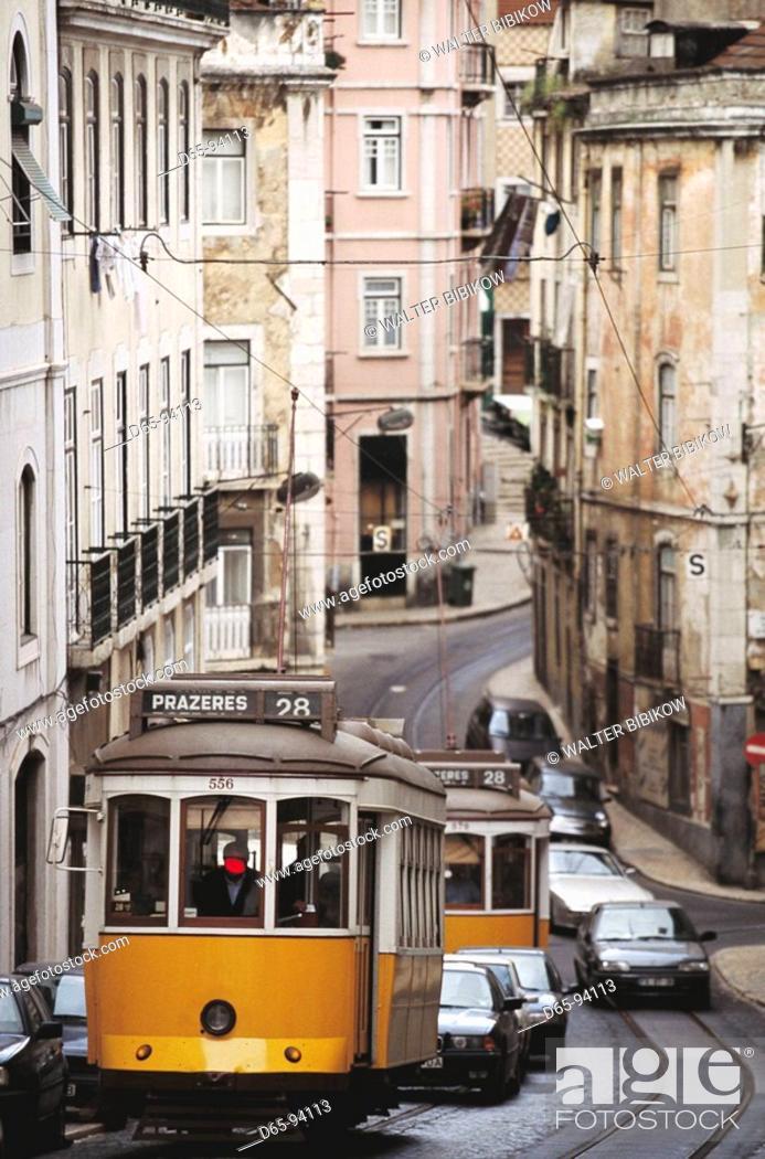 Stock Photo: Trams, Lisbon. Portugal.