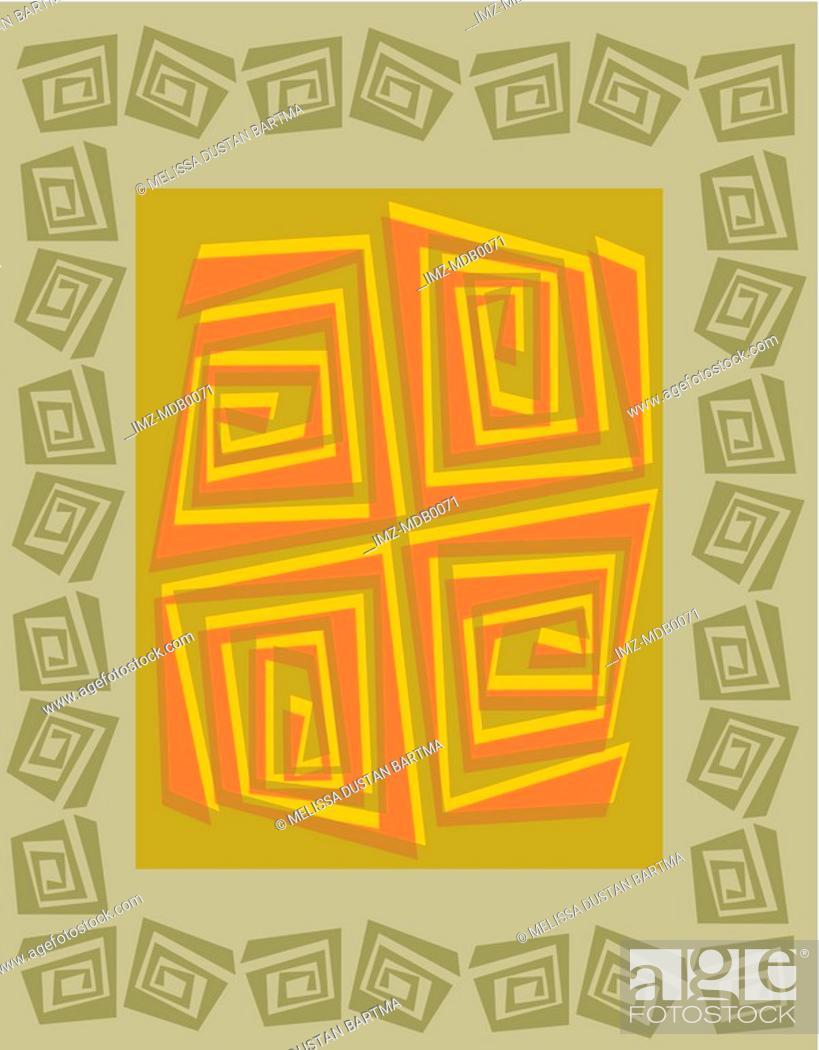 Stock Photo: A green and orange geometric wood cut pattern.