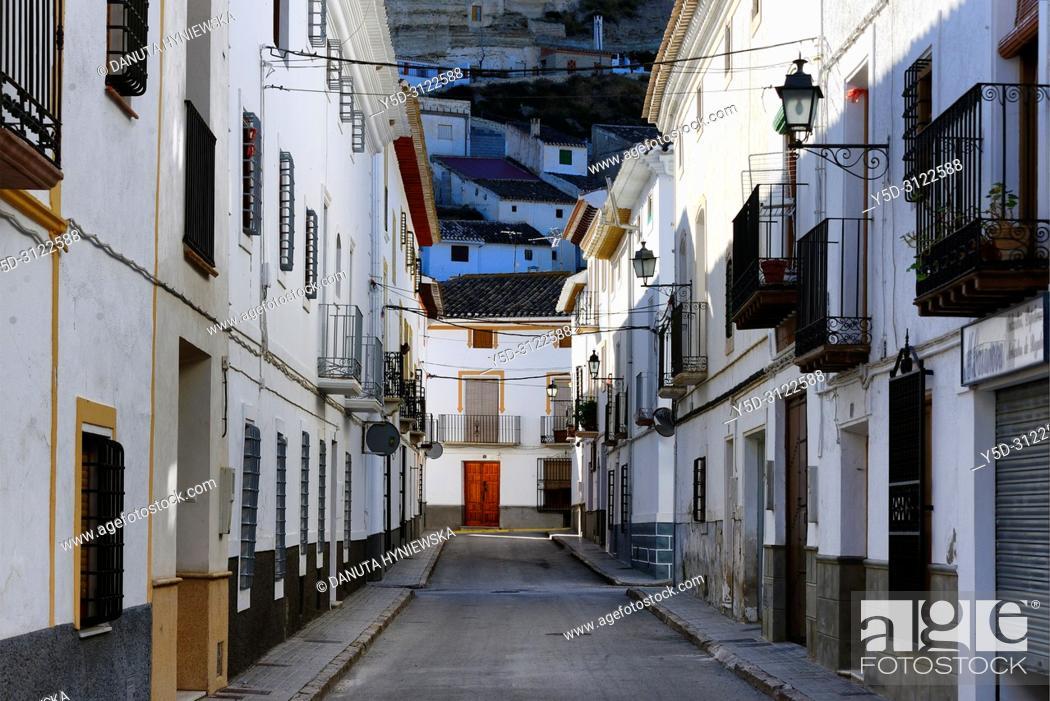 Stock Photo: street scene, historic part of Galera near Baza, municipality Huéscar, province of Granada, Andalusia, Spain, Europe.