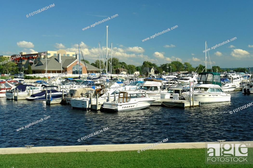 Stock Photo: Ludington, MI, Michigan, Lake Michigan, waterfront, municipal marina.