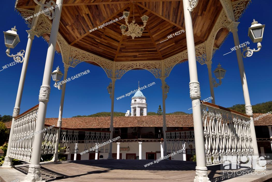 Stock Photo: Bandstand in central square of San Sebastian del Oeste Jalisco Mexico with church bell tower.