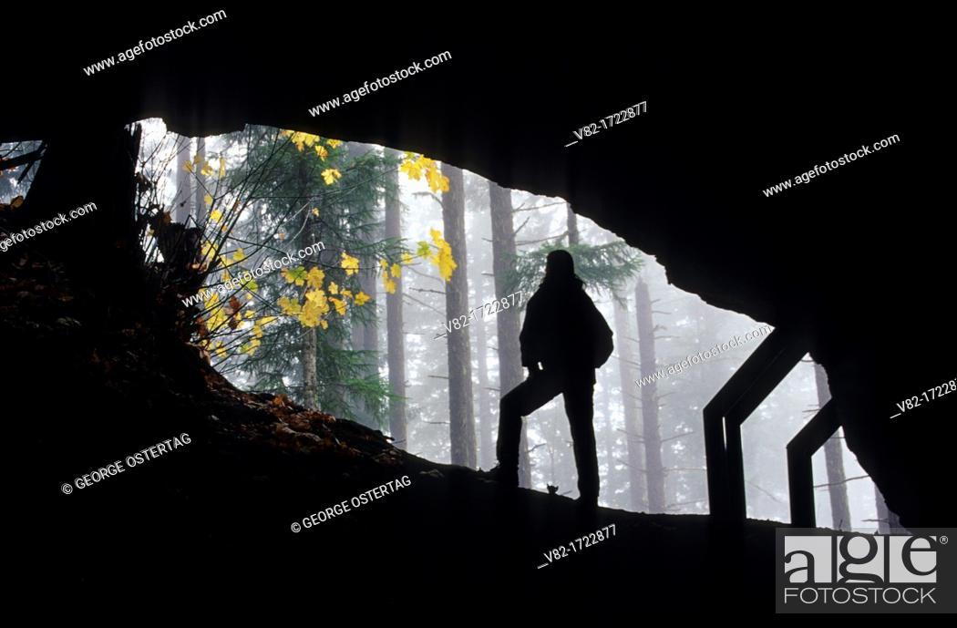 Stock Photo: Layser Cave entrance, Gifford Pinchot National Forest, Washington.