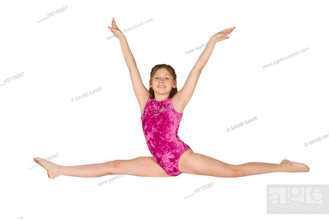 Stock Photo: Ten year old caucasian girl in gymnastics poses.