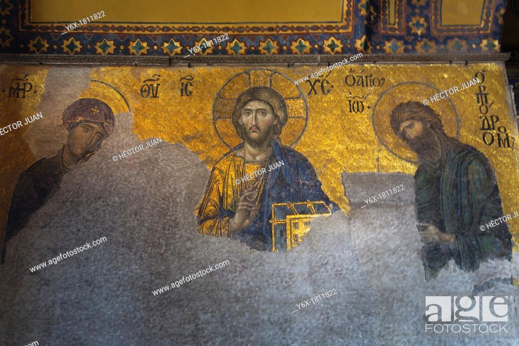 Photo de stock: The Deësis mosaic with Christ.